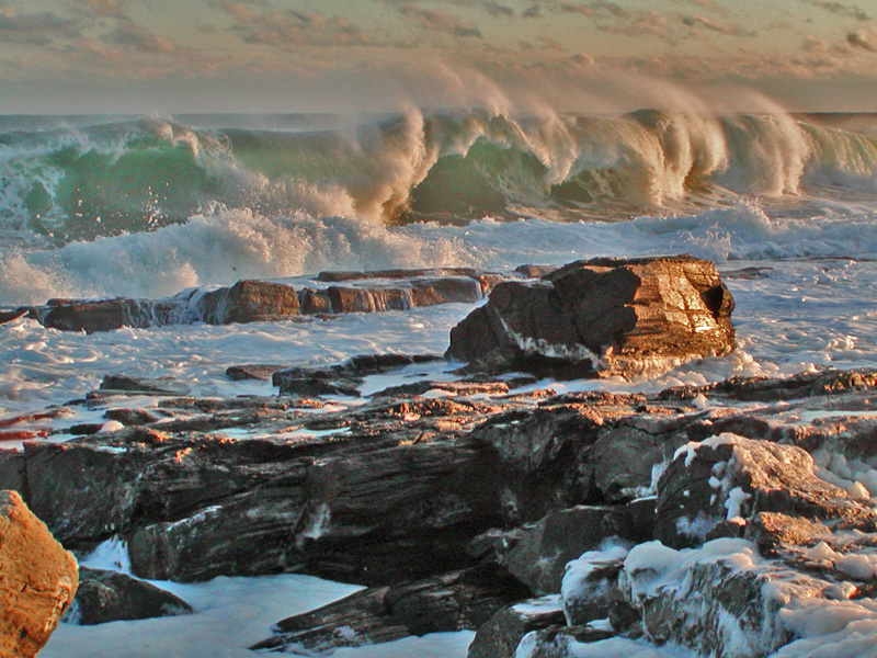 sunset surf and spume