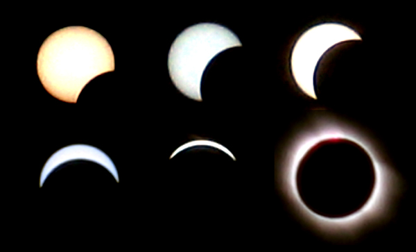 Six phases of March 29th Solar Eclipse
