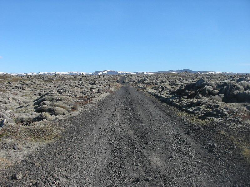Through lava fields...