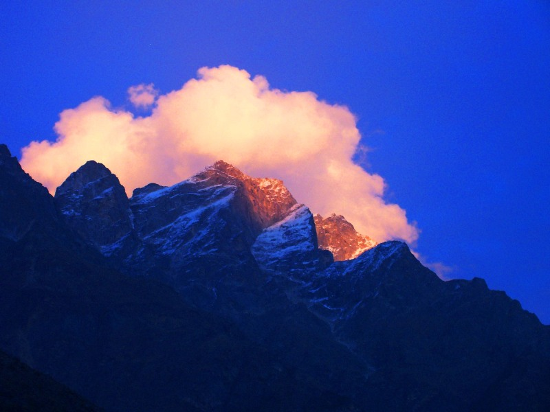 Golden sunset in Himalayas