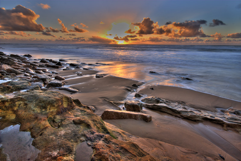 rocky shore at sunset
