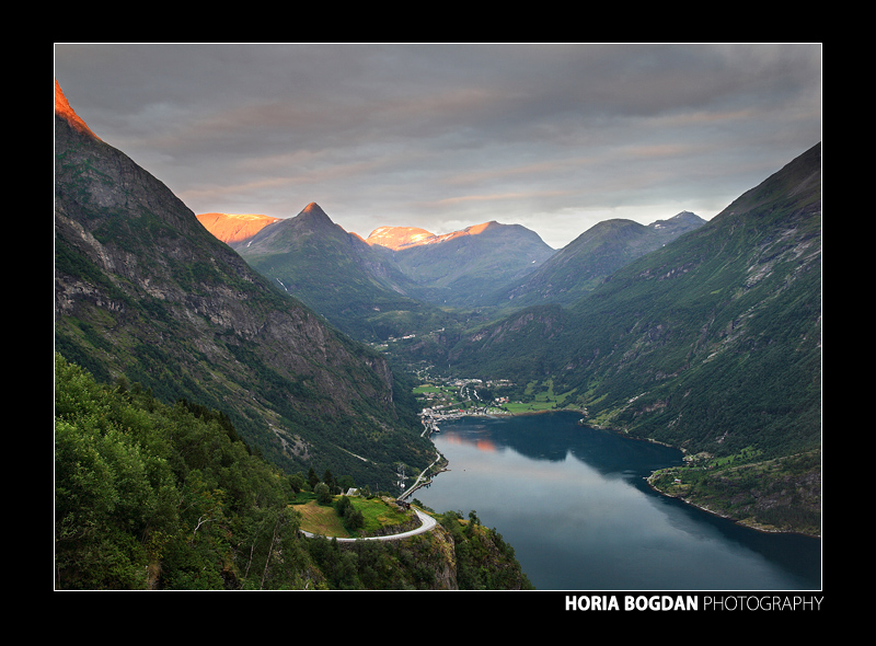 Sunset and Geirangerfjord